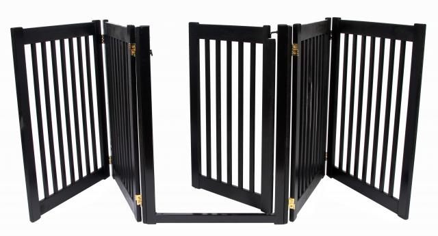Freestanding Walk Through 5 Panel Wood Gate Black 32h